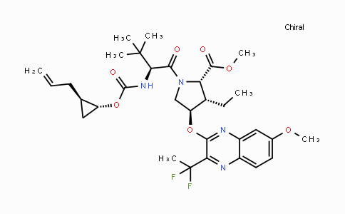 methyl (2S,3S,4R)-1-((S)-2-((((1R,2R)-2-allylcyclopropoxy)carbonyl)amino)-3,3-dimethylbutanoyl)-4-((3-(1,1-difluoroethyl)-7-methoxyquinoxalin-2-yl)oxy)-3-ethylpyrrolidine-2-carboxylate