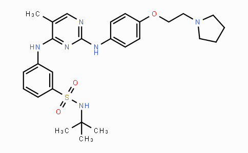 936091-26-8   N-(tert-butyl)-3-((5-methyl-2-((4-(2-(pyrrolidin-1-yl)ethoxy)phenyl)amino)pyrimidin-4-yl)amino)benzenesulfonamide