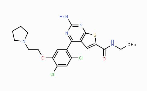 847559-80-2   2-amino-4-(2,4-dichloro-5-(2-(pyrrolidin-1-yl)ethoxy)phenyl)-N-ethylthieno[2,3-d]pyrimidine-6-carboxamide