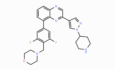1092499-93-8   4-(2,6-difluoro-4-(3-(1-(piperidin-4-yl)-1H-pyrazol-4-yl)quinoxalin-5-yl)benzyl)morpholine