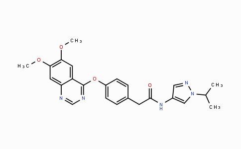 883986-34-3   2-(4-((6,7-dimethoxyquinazolin-4-yl)oxy)phenyl)-N-(1-isopropyl-1H-pyrazol-4-yl)acetamide