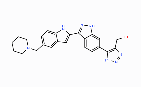 DY447696 | 916767-35-6 | (5-(3-(5-(piperidin-1-ylmethyl)-1H-indol-2-yl)-1H-indazol-6-yl)-1H-1,2,3-triazol-4-yl)methanol