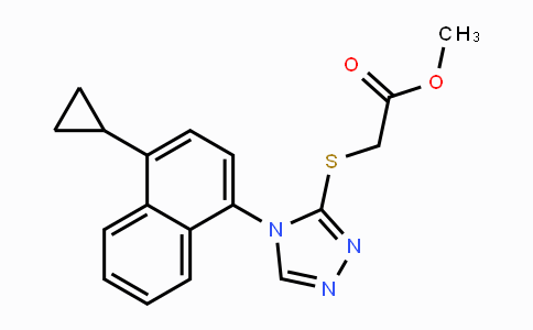 MC455505 | 1533519-85-5 | Methyl 2-[[4-(4-cyclopropylnaphthalen-1-yl)-4H-1,2,4-triazol-3-yl]thio]acetate