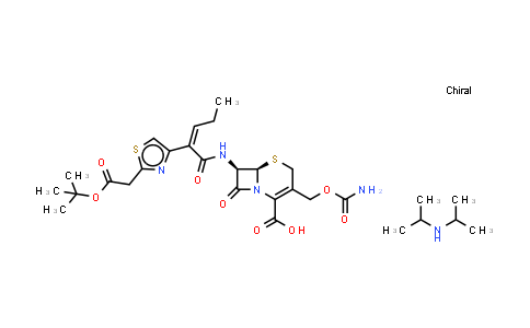 153012-37-4 | [6R-[6alpha,7beta(Z)]]-3-[[(Aminocarbonyl)oxy]methyl]-7-[[2-[2-[[(1,1-dimethylethoxy)carbonyl]amino]-4-thiazolyl]-1-oxo-2-pentenyl]amino]-8-oxo-5-thia-1-azabicyclo[4.2.0]oct-2-ene-2-carboxylic acid compd. with N-(1-methylethyl)-2-propanamine