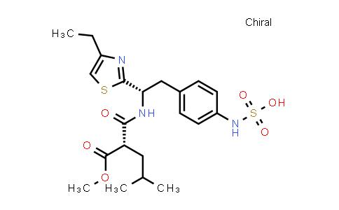 1000611-47-1   Pentanoic acid, 2-[[[(1S)-1-(4-ethyl-2-thiazolyl)-2-[4-(sulfoamino)phenyl]ethyl]amino]carbonyl]-4-methyl-, 1-methyl ester, (2S)-
