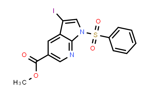 1001414-06-7 | 1H-Pyrrolo[2,3-b]pyridine-5-carboxylic acid, 3-iodo-1-(phenylsulfonyl)-, methyl ester