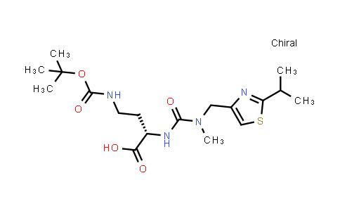 1004316-84-0   (S)-4-((tert-Butoxycarbonyl)amino)-2-(3-((2-isopropylthiazol-4-yl)methyl)-3-methylureido)butanoic acid