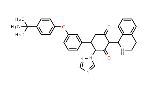 1005068-82-5   1,3-Cyclohexanedione, 5-[3-[4-(1,1-dimethylethyl)phenoxy]phenyl]-2-(1,2,3,4-tetrahydro-1-isoquinolinyl)-4-(1H-1,2,4-triazol-1-yl)-