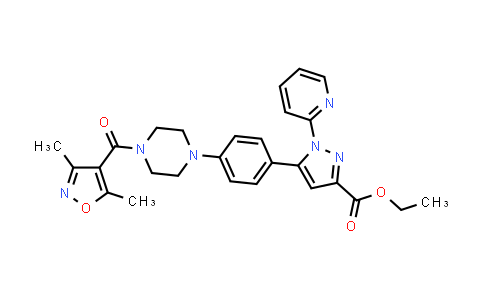 1007473-53-1 | ethyl 5-(4-(4-(3,5-dimethylisoxazole-4-carbonyl)piperazin-1-yl)phenyl)-1-(pyridin-2-yl)-1H-pyrazole-3-carboxylate