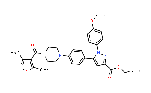 1007482-89-4 | ethyl 5-(4-(4-(3,5-dimethylisoxazole-4-carbonyl)piperazin-1-yl)phenyl)-1-(4-methoxyphenyl)-1H-pyrazole-3-carboxylate
