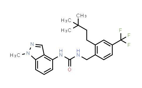 1008529-42-7   Urea, N-[[2-(3,3-dimethylbutyl)-4-(trifluoromethyl)phenyl]methyl]-N'-(1-methyl-1H-indazol-4-yl)-
