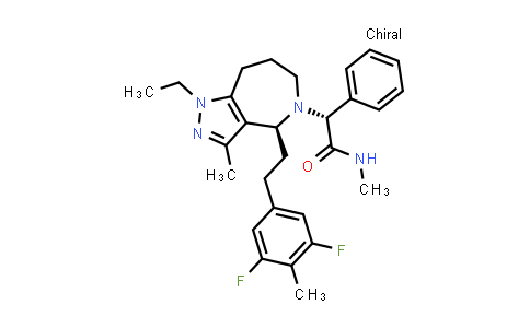 1010389-82-8 | Pyrazolo[4,3-c]azepine-5(1H)-acetamide, 4-[2-(3,5-difluoro-4-methylphenyl)ethyl]-1-ethyl-4,6,7,8-tetrahydro-N,3-dimethyl-α-phenyl-, (αR,4S)-