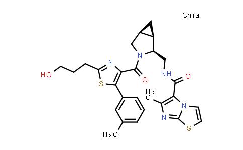 1017272-85-3 | Imidazo[2,1-b]thiazole-5-carboxamide, N-[[(1R,2S,5S)-3-[[2-(3-hydroxypropyl)-5-(3-methylphenyl)-4-thiazolyl]carbonyl]-3-azabicyclo[3.1.0]hex-2-yl]methyl]-6-methyl-, rel-