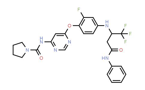 1020535-61-8 | 1-Pyrrolidinecarboxamide, N-[6-[2-fluoro-4-[[3-oxo-3-(phenylamino)-1-(trifluoromethyl)propyl]amino]phenoxy]-4-pyrimidinyl]-