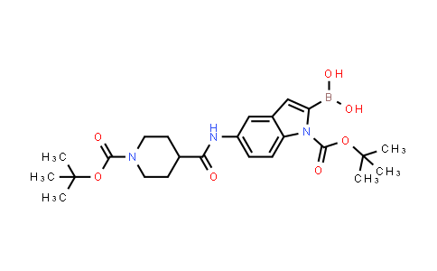 1021342-82-4   1H-Indole-1-carboxylic acid, 2-borono-5-[[[1-[(1,1-dimethylethoxy)carbonyl]-4-piperidinyl]carbonyl]amino]-, 1-(1,1-dimethylethyl) ester