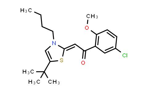 1029970-87-3   Ethanone, 2-[3-butyl-5-(1,1-dimethylethyl)-2(3H)-thiazolylidene]-1-(5-chloro-2-methoxyphenyl)-, (2Z)-