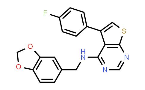 1030123-90-0   N-(Benzo[d][1,3]dioxol-5-ylmethyl)-5-(4-fluorophenyl)thieno[2,3-d]pyrimidin-4-amine