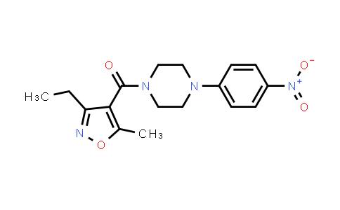 1031179-46-0   Methanone, (3-ethyl-5-methyl-4-isoxazolyl)[4-(4-nitrophenyl)-1-piperazinyl]-