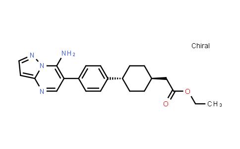 1031336-54-5 | Cyclohexaneacetic acid, 4-[4-(7-aminopyrazolo[1,5-a]pyrimidin-6-yl)phenyl]-, ethyl ester, trans-