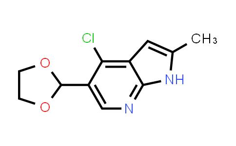 1032815-06-7   1H-Pyrrolo[2,3-b]pyridine, 4-chloro-5-(1,3-dioxolan-2-yl)-2-methyl-