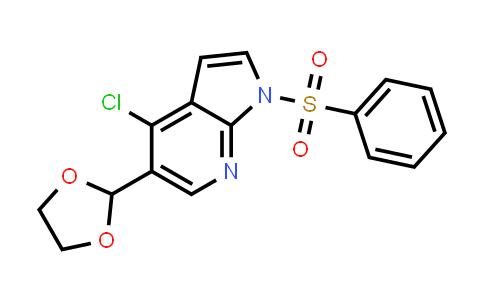 1032815-08-9 | 1H-Pyrrolo[2,3-b]pyridine, 4-chloro-5-(1,3-dioxolan-2-yl)-1-(phenylsulfonyl)-