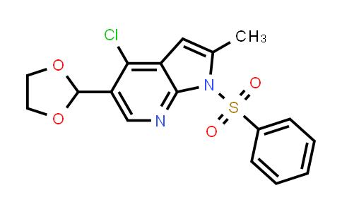 1032815-20-5 | 1H-Pyrrolo[2,3-b]pyridine, 4-chloro-5-(1,3-dioxolan-2-yl)-2-methyl-1-(phenylsulfonyl)-
