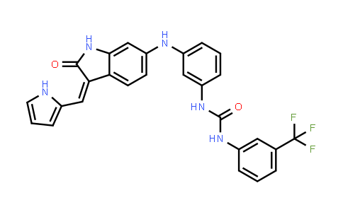 1033768-17-0 | Urea, N-[3-[[2,3-dihydro-2-oxo-3-(1H-pyrrol-2-ylmethylene)-1H-indol-6-yl]amino]phenyl]-N'-[3-(trifluoromethyl)phenyl]-