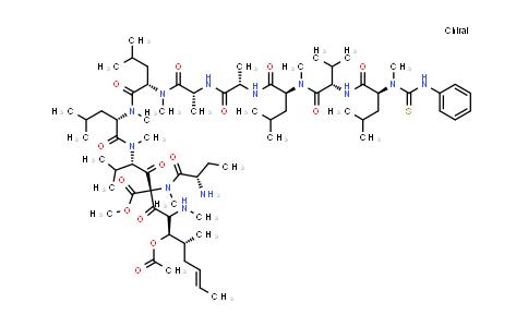 1038781-12-2   Glycine, N-methyl-N-[(phenylamino)thioxomethyl]-L-leucyl-L-valyl-N-methyl-L-leucyl-L-alanyl-D-alanyl-N-methyl-L-leucyl-N-methyl-L-leucyl-N-methyl-L-valyl-(2S,3R,4R,6E)-3-(acetyloxy)-4-methyl-2-(methylamino)-6-octenoyl-(2S)-2-aminobutanoyl-N-methyl-, methyl ester