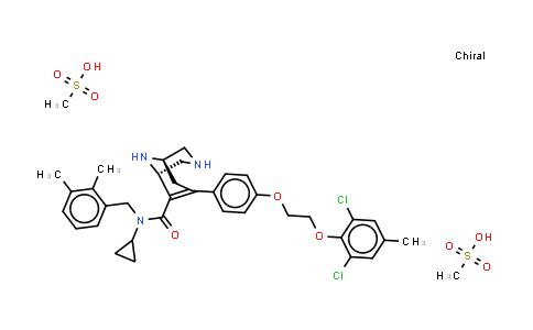 1041439-02-4   3,9-Diazabicyclo[3.3.1]non-6-ene-6-carboxamide, N-cyclopropyl-7-[4-[2-(2,6-dichloro-4-methylphenoxy)ethoxy]phenyl]-N-[(2,3-dimethylphenyl)methyl]-, (1R,5S)-, (methanesulfonate) (1:2)