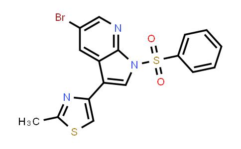 1046793-48-9   1H-Pyrrolo[2,3-b]pyridine, 5-bromo-3-(2-methyl-4-thiazolyl)-1-(phenylsulfonyl)-