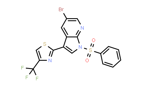 1046793-49-0 | 1H-Pyrrolo[2,3-b]pyridine, 5-bromo-1-(phenylsulfonyl)-3-[4-(trifluoromethyl)-2-thiazolyl]-