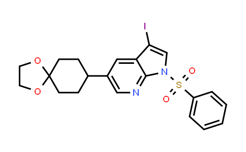 1046793-64-9 | 1H-Pyrrolo[2,3-b]pyridine, 5-(1,4-dioxaspiro[4.5]dec-8-yl)-3-iodo-1-(phenylsulfonyl)-