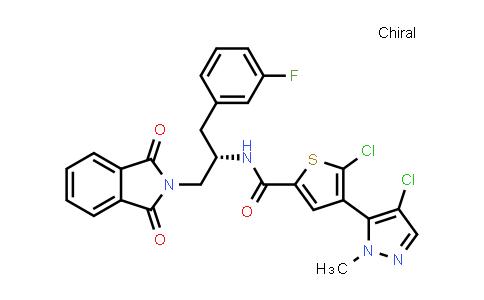 1047645-80-6 | 2-Thiophenecarboxamide, 5-chloro-4-(4-chloro-1-methyl-1H-pyrazol-5-yl)-N-[(1S)-2-(1,3-dihydro-1,3-dioxo-2H-isoindol-2-yl)-1-[(3-fluorophenyl)methyl]ethyl]-