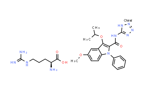 104961-35-5   1H-Indole-2-carboxamide, 5-methoxy-3-(1-methylethoxy)-1-phenyl-N-1H-tetrazol-5-yl-, compd. with L-arginine