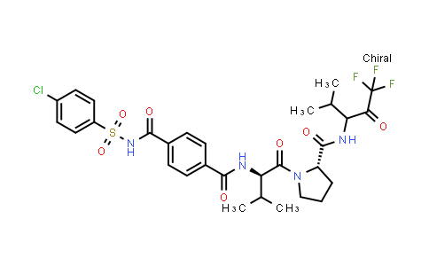 105120-02-3 | L-Prolinamide, N-[4-[[[(4-chlorophenyl)sulfonyl]amino]carbonyl]benzoyl]-L-valyl-N-[3,3,3-trifluoro-1-(1-methylethyl)-2-oxopropyl]-, (R)-