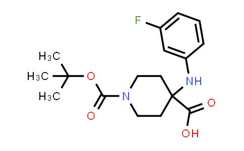 2177267-34-2   1-(tert-Butoxycarbonyl)-4-((3-fluorophenyl)amino)piperidine-4-carboxylic acid