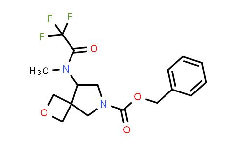 219869-48-4   2-Oxa-6-azaspiro[3.4]octane-6-carboxylic acid, 8-[methyl(2,2,2-trifluoroacetyl)amino]-, phenylmethyl ester