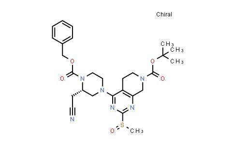 2206737-01-9   tert-Butyl 4-((S)-4-((benzyloxy)carbonyl)-3-(cyanomethyl)piperazin-1-yl)-2-(methylsulfinyl)-5,6-dihydropyrido[3,4-d]pyrimidine-7(8H)-carboxylate