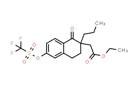 2221084-34-8 | Ethyl 2-(1-oxo-2-propyl-6-(((trifluoromethyl)sulfonyl)oxy)-1,2,3,4-tetrahydronaphthalen-2-yl)acetate