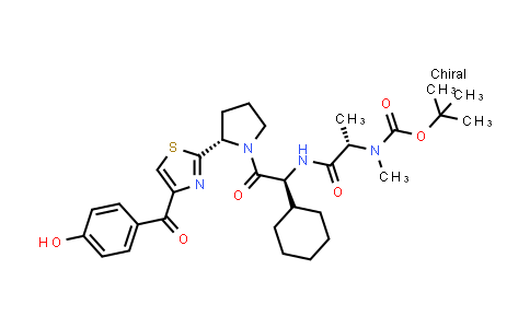 2222354-11-0 | tert-Butyl ((S)-1-(((S)-1-cyclohexyl-2-((S)-2-(4-(4-hydroxybenzoyl)thiazol-2-yl)pyrrolidin-1-yl)-2-oxoethyl)amino)-1-oxopropan-2-yl)(methyl)carbamate