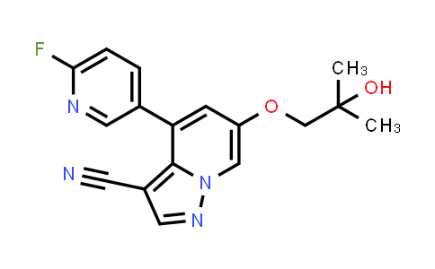 2222653-74-7   4-(6-Fluoropyridin-3-yl)-6-(2-hydroxy-2-methylpropoxy)pyrazolo[1,5-a]pyridine-3-carbonitrile