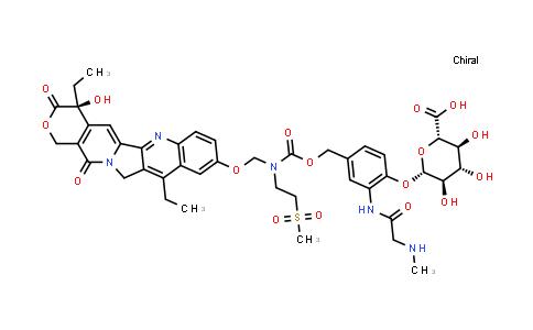 2260958-39-0 | (2S,3S,4S,5R,6S)-6-(4-(((((((S)-4,11-Diethyl-4-hydroxy-3,14-dioxo-3,4,12,14-tetrahydro-1H-pyrano[3',4':6,7]indolizino[1,2-b]quinolin-9-yl)oxy)methyl)(2-(methylsulfonyl)ethyl)carbamoyl)oxy)methyl)-2-(2-(methylamino)acetamido)phenoxy)-3,4,5-trihydroxytetrahydro-2H-pyran-2-carboxylic acid
