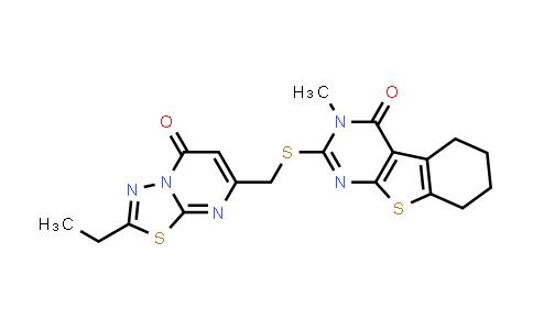 MC576660 | 875420-03-4 | 2-(((2-Ethyl-5-oxo-5H-[1,3,4]thiadiazolo[3,2-a]pyrimidin-7-yl)methyl)thio)-3-methyl-5,6,7,8-tetrahydrobenzo[4,5]thieno[2,3-d]pyrimidin-4(3H)-one