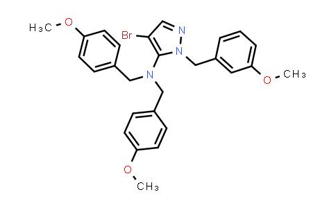 DY580704   930286-88-7   4-Bromo-1-[(3-methoxyphenyl)methyl]-N,N-bis[(4-methoxyphenyl)methyl]-1H-pyrazol-5-amine