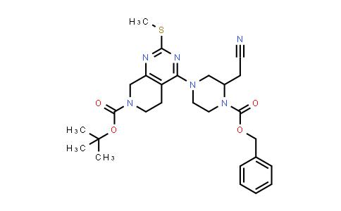 DY586565   2206737-58-6   tert-butyl 4-[4-benzyloxycarbonyl-3-(cyanomethyl)piperazin-1-yl]-2-methylsulfanyl-6,8-dihydro-5H-pyrido[3,4-d]pyrimidine-7-carboxylate